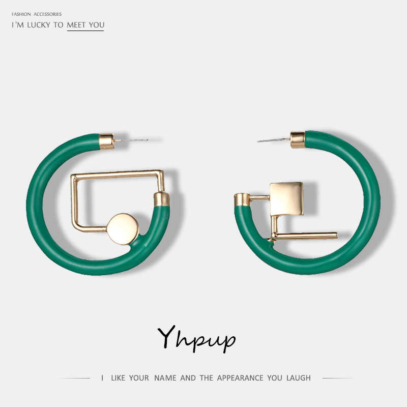 Yhpup Luxury Zinc Alloy Big Stud Earrings For Women Christmas Birthday Gift Earrings 2017 NEW Handmade Geometric Jewelry