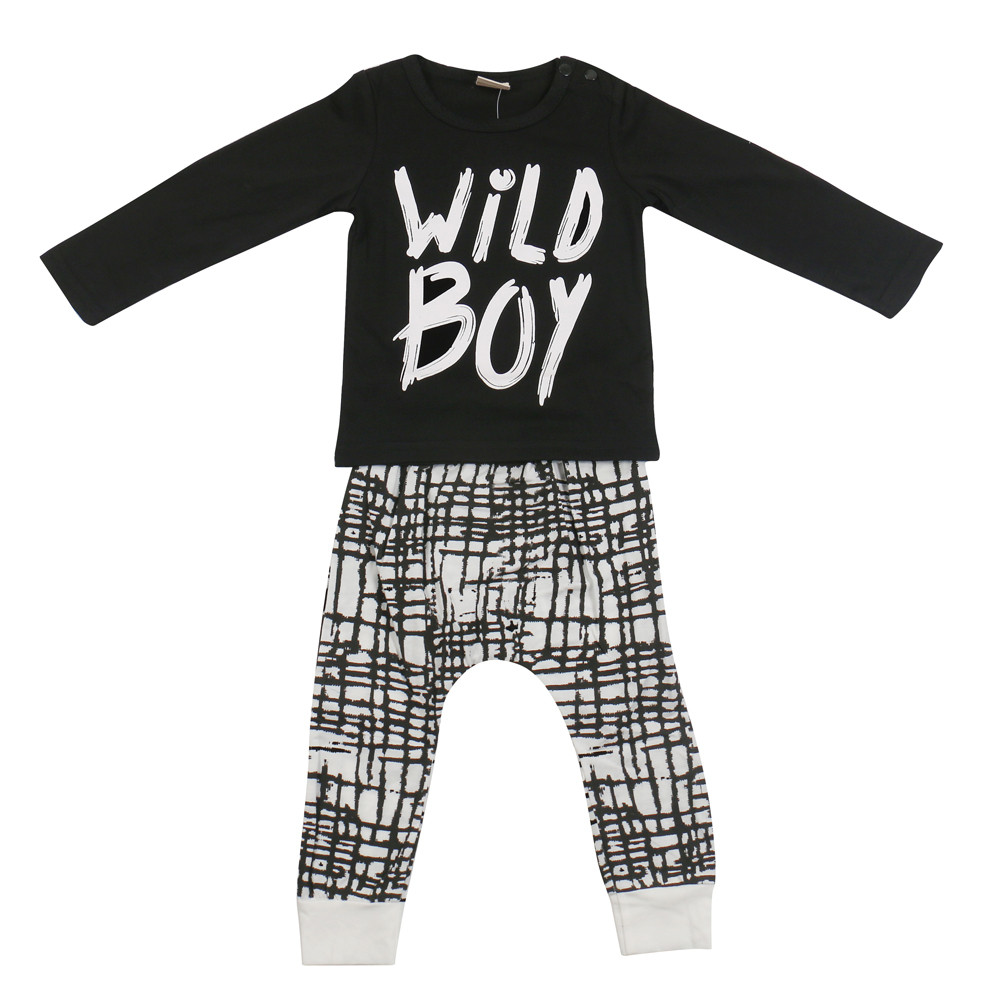 53513bea0f36 2017 New Fashion Kids Boy Clothes Sets Long Sleeve WiLD BOY letter ...