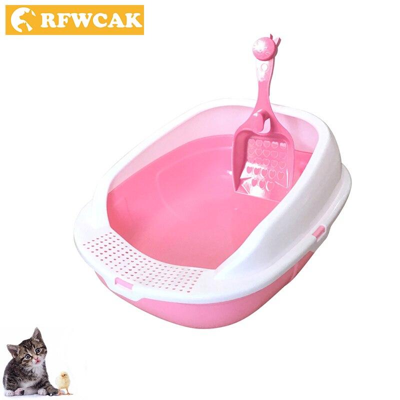 RFWCAK New Detachable Plastic Pet Litter Box Semi-closed Open Anti-Splash Reusable Cat Bedpans Pet Toilet Cleaning Appliance
