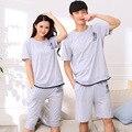 2015 verão versão Coreana das senhoras pijamas dos homens de puro algodão verão cortadas calças de brim amantes pijamas de manga curta