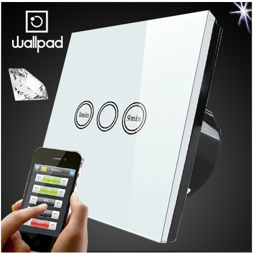Wallpad 86 EU UK Crystal Glass White Wireless Remote control wall Timmer touch switch,Wifi Time Delay Switch,Free Shipping