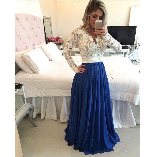 cebad1d08 2017 Lace Manga Comprida Evening Prom Vestidos Islâmico Muçulmano V neck a  line vestidos real partido