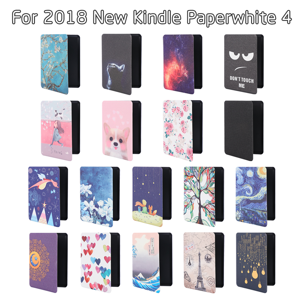 Ultra Slim Painted Cover PU Leather Case E-Book Reader Protective Shell For Amazon Kindle Paperwhite 4 10th Generation 2018 New
