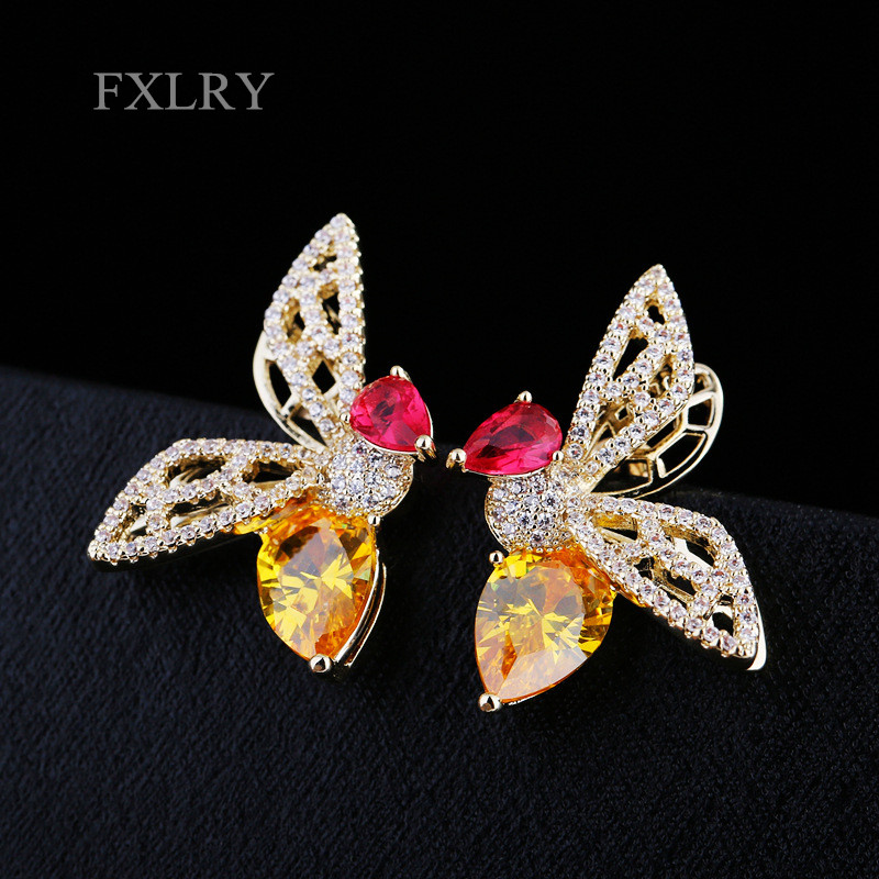 FXLRY NEW Elegant Gold Color Cubic Zirconia Colorful Zircon Stone Crystal Large Bee Stud Earrings Party Jewelry
