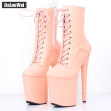 jialuowei 2018 New 20CM Super High Heel Platform Lace-up Ankle Boots Spike Heels Sexy Feitsh Women Dance Party Show Shoes