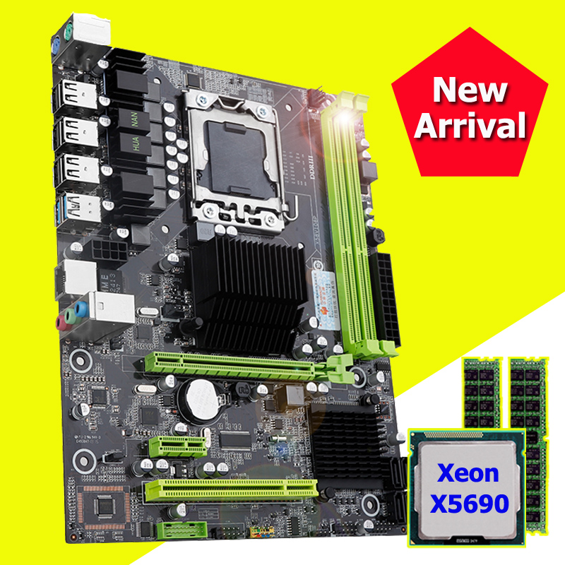 Computer DIY Brand new motherboard HUANANZHI discount X58 Pro motherboard with CPU Intel Xeon X5690 RAM (2*8G)16G DDR3 REG ECC image
