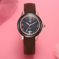 XINBOQIN Brand Womens Rubber Watches Casual Neutral Designer Ladies Calendar Watch Ceramic Frame Real Leather Wristwatch Relojes
