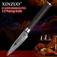 XINZUO 3.5 inches Fruit Knife 67 layers Japan Damascus Stainless Steel Kitchen Knives High Quality Paring Knife Ergonomic Handle