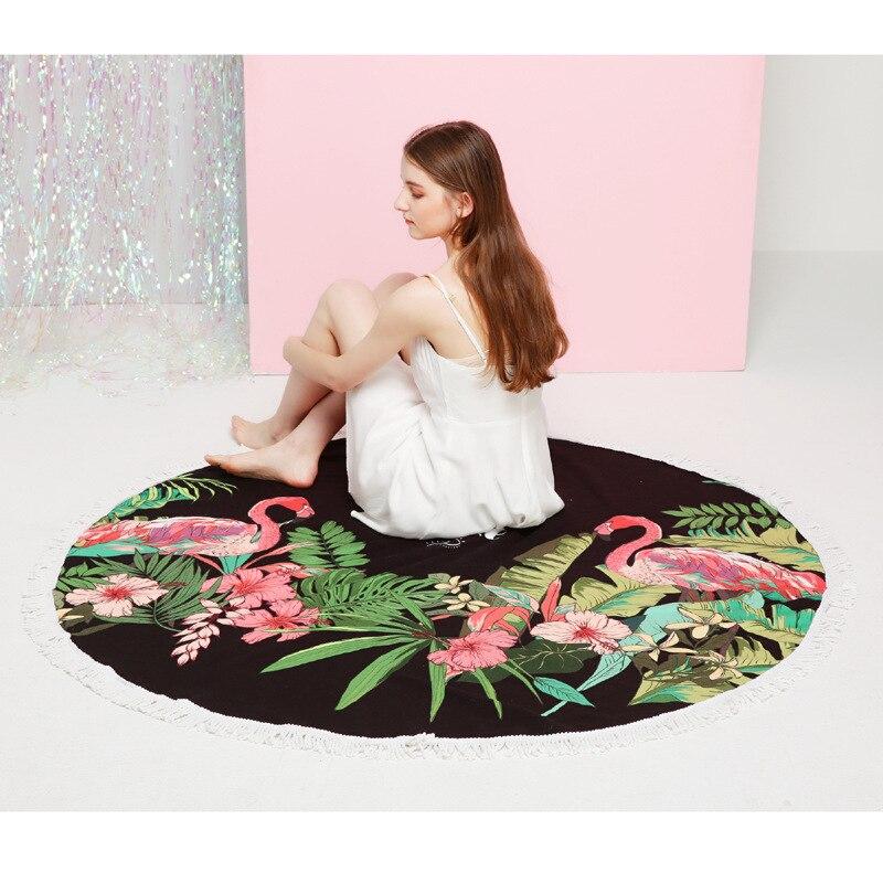 Serviette de plage ronde Flamingo microfibre 150 cm avec glands absorbant doux serviettes de bain à séchage rapide couverture de Protection solaire tapis