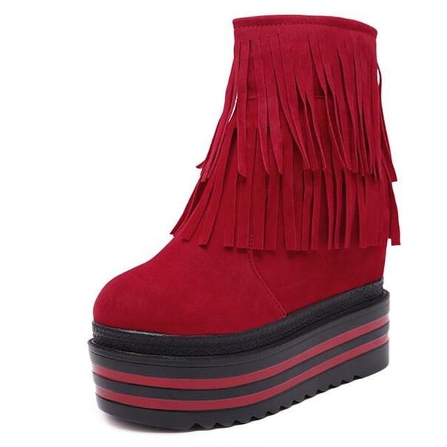 Женские ботинки в Корейском стиле; сезон осень-зима; ботинки на толстой подошве; женские Ботинки martin на скрытом каблуке 12 см с бахромой