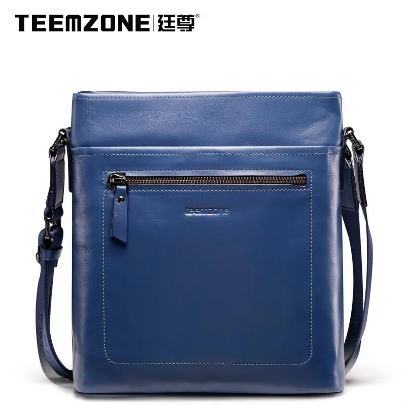 2017 European And American Fashion Men Genuine Leather Blue Messenger Bag Designer Mens Famous Teemzone Brand Shoulder Handbag