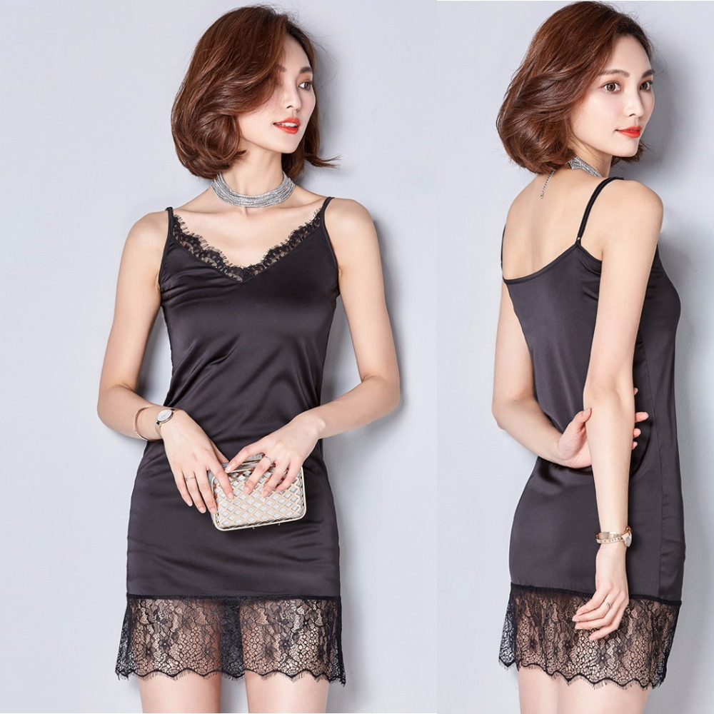 Imitation Silk Woman Long Camisoles Hollow Out Lace Hem 4 Colors For Your Choice