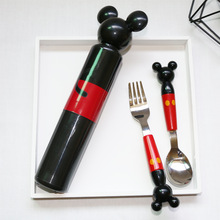 Portable Stereo Mickey Head Stainless Steel Fork Spoon with Baby Boxed Set for Tableware Consisting Training @