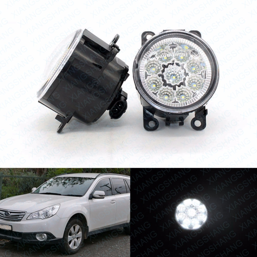 LED Front Fog Lights For Subaru Outback 2010-2011 2012 Car Styling Round Bumper DRL Daytime Running Driving hot sale abs chromed front behind fog lamp cover 2pcs set car accessories for volkswagen vw tiguan 2010 2011 2012 2013
