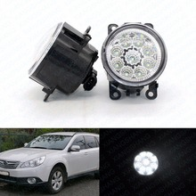 LED Front Fog Lights For Subaru Outback 2010-2011 2012 Car Styling Round Bumper DRL Daytime Running Driving