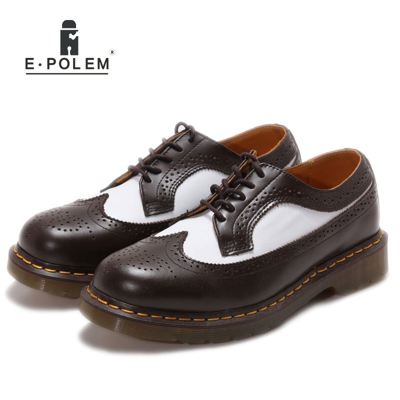 Genuine Leather Shoes Men Brogue Oxford Martin Shoes Breathable England 2017 Spring Autumn Mens Fashion Wedding Dress Shoes 2017 new spring imported leather men s shoes white eather shoes breathable sneaker fashion men casual shoes