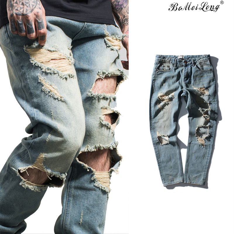 2017 New Fashion Straight Destroyed Jeans Men Brand Casual Slim Ripped Jeans Homme Retro Men's Trousers Stripe Denim Pants B0179 2017 fashion patch jeans men slim straight denim jeans ripped trousers new famous brand biker jeans logo mens zipper jeans 604