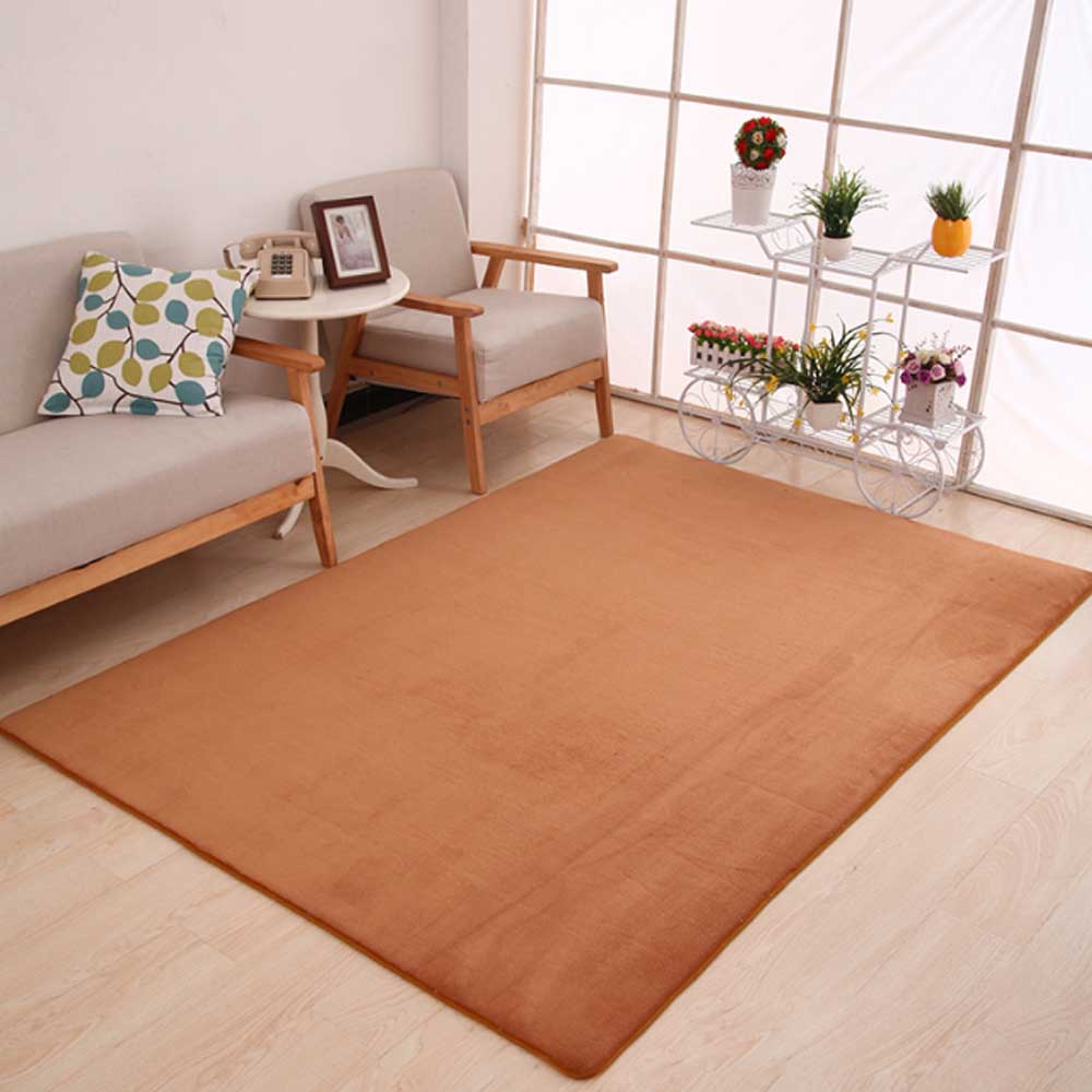 Коврик из полиэфирного волокна кораллового бархата для спальни, гостиной, мягкое украшение для дома, чайный стол, стулья, коврик для пола, нескользящая прихожая - Цвет: Camel