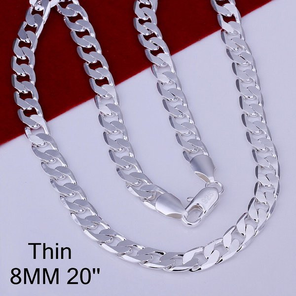 8MM 16-24inch Links chain men necklace fashion silver men's jewelry, 925 sterling silver chain necklace for men high quality