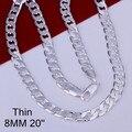 8mm 16-24 polegadas links chain men colar moda prata jóias masculinas, 925 prata esterlina corrente colar para homens de alta qualidade