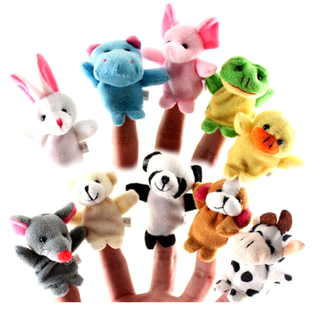 Surwish 10Pcs Soft Plush Cute Animals Finger Puppet Set Children Story Telling Helper Dolls