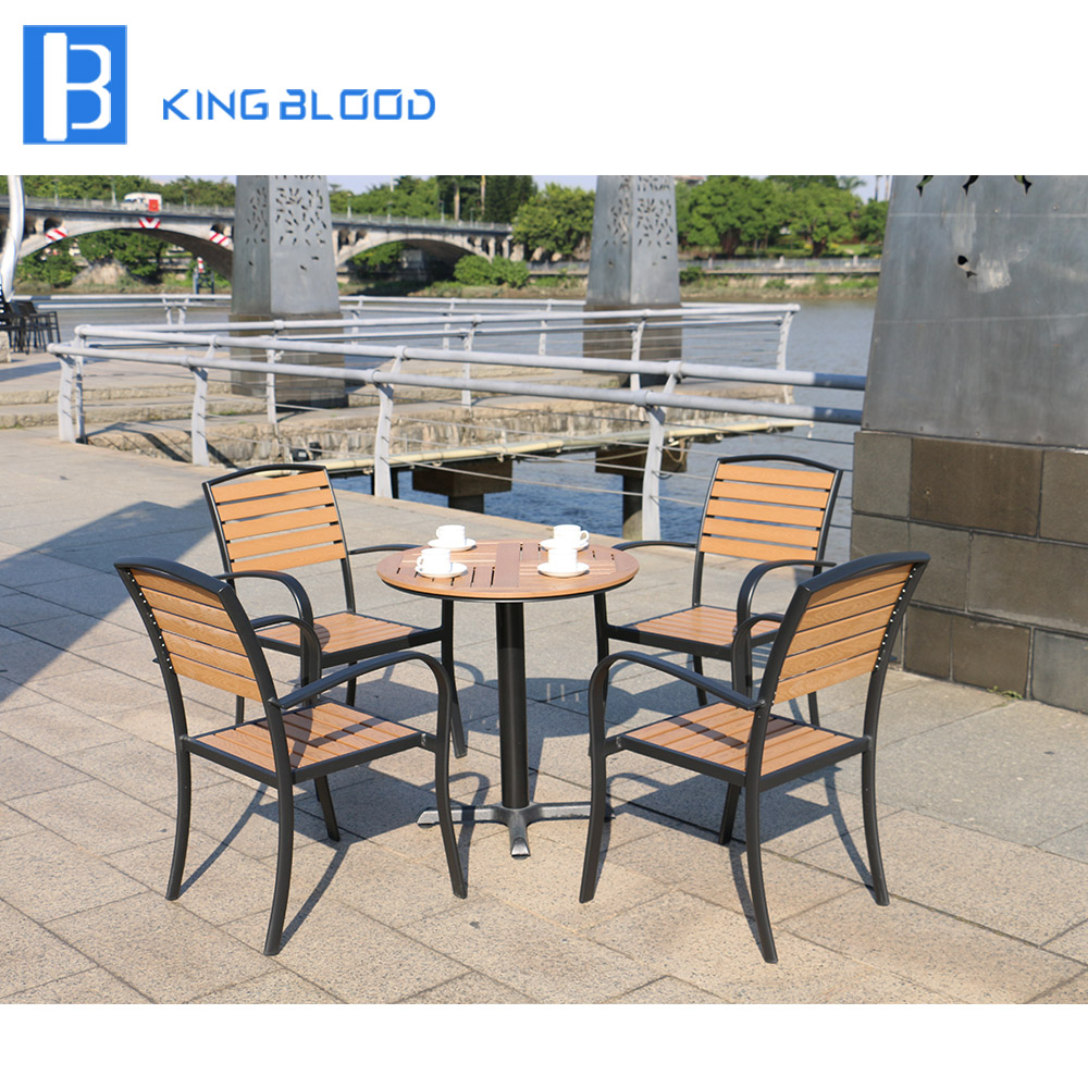 5pcs Outdoor garden furniture plastic wood dining table and chair