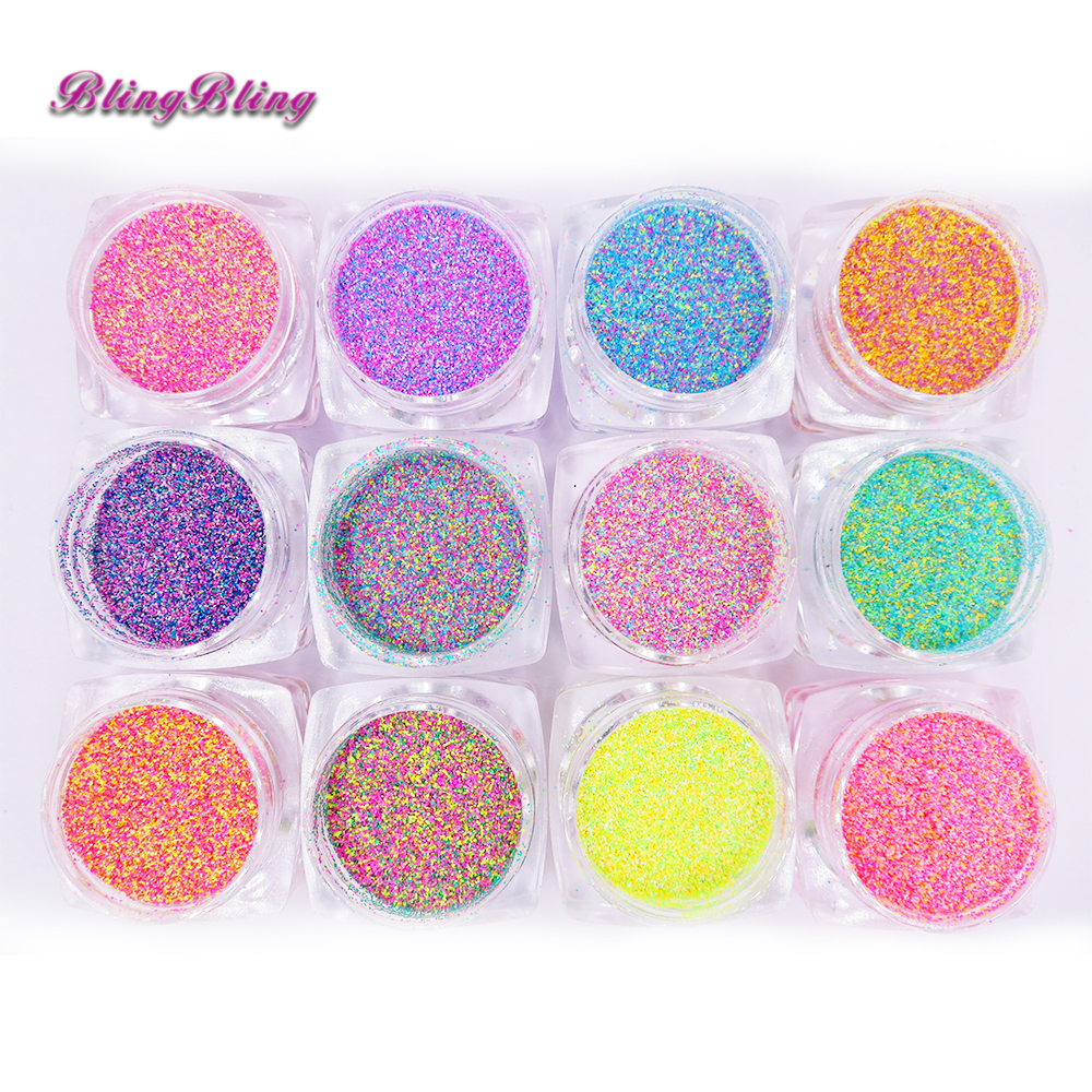 12Color Nail Glitter Sandy Sugar Nail Art Color mezclado Seaside Acrylic Powder Manicure Gel Glitter para el verano Nail Art Decoration