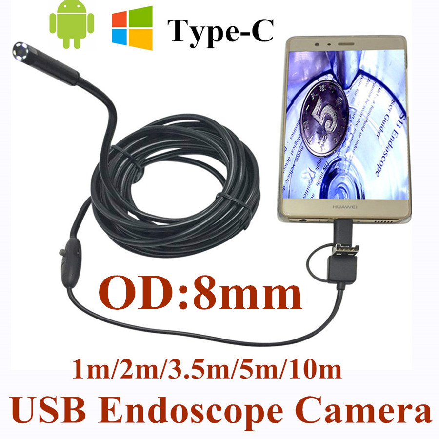 8mm 3 in 1 USB Endoscope Camera 1-10M Soft Wire IP66 Waterproof Snake Tube Inspection Android OTG Type-C USB Borescope Camera bullet camera tube camera headset holder with varied size in diameter