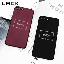 LACK Wine Red Couples Phone Case For iphone 7 Case For iphone 7 Plus Back Cover Simple Letter Love Heart Cases Hard Slim Capa(China)