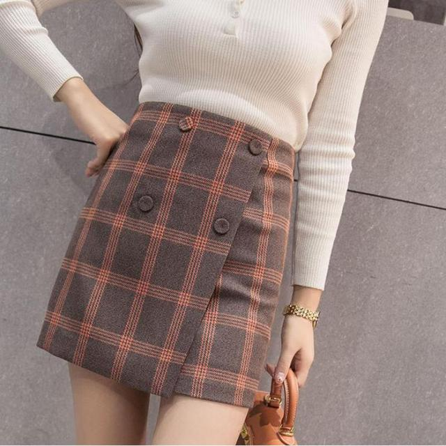 dc4cde8d0a 2019 Spring New Arrival Korean Style Slim Plaid Mini Skirt High Waist  Double Breasted Woolen Ladies Skirts Free Shipping