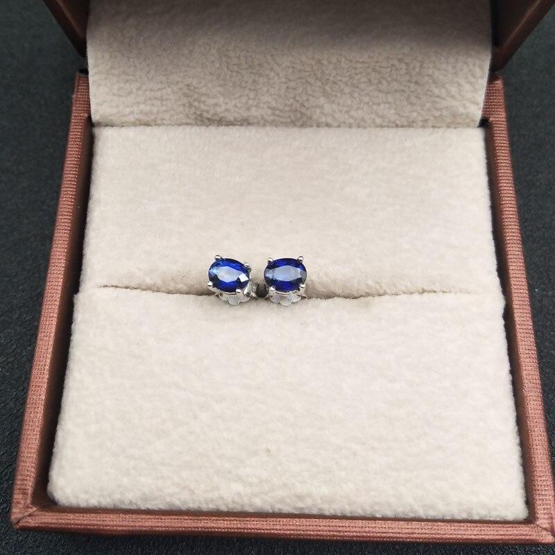 LANZYO 925 argent naturel saphir boucles d'oreilles mode bijoux anniversaire plante femmes cadeau en gros e040501agl - 2