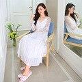 Larga de Encaje de Algodón Blanco de Las Mujeres Camisones Hogar Lindo de La Vendimia Palacio Princesa Vestidos para La Noche de Dormir Vestido de Bata Camisón