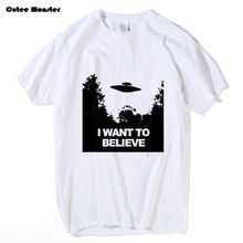 2017 Summer X-Files T-shirt Men fashion short sleeve Tees I Want To Believe Aliens UFO Tees Hip Hop Cotton T Shirt Clothing