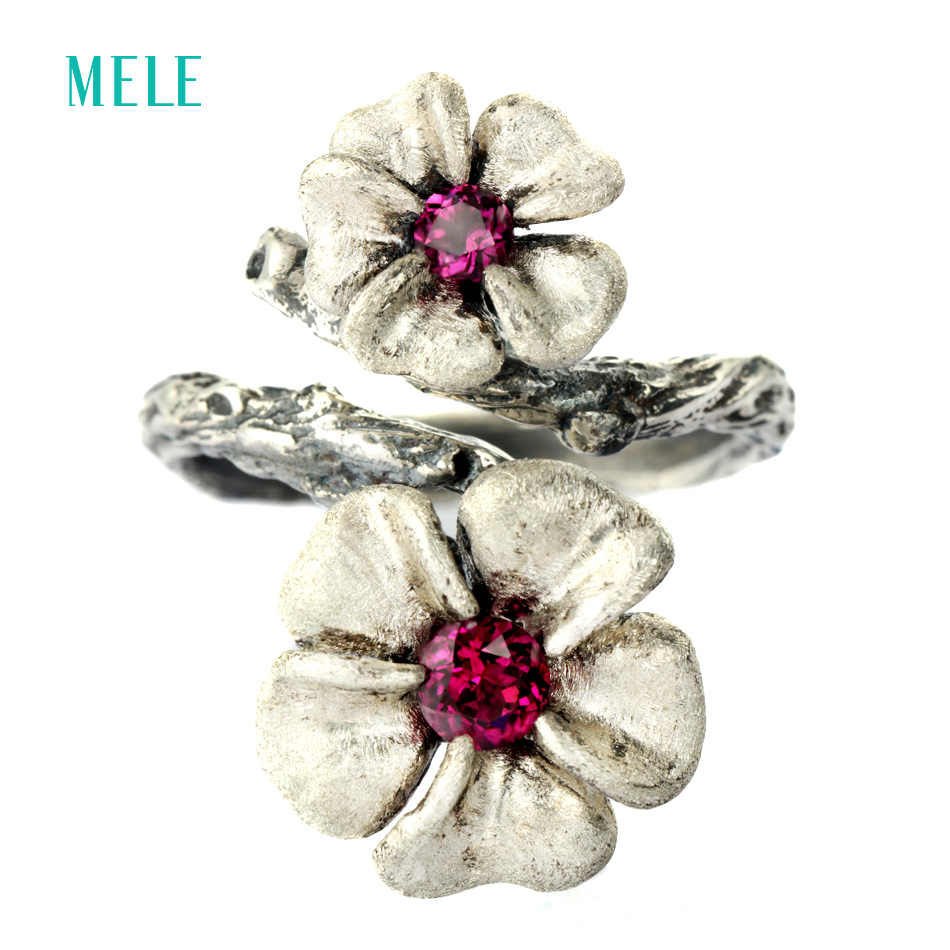 MELE Natural garnet 925 sterling silver ring for women, 13mm and 10mm for Plum blossom flowers size vintage gemstone jewelry blossom flowers
