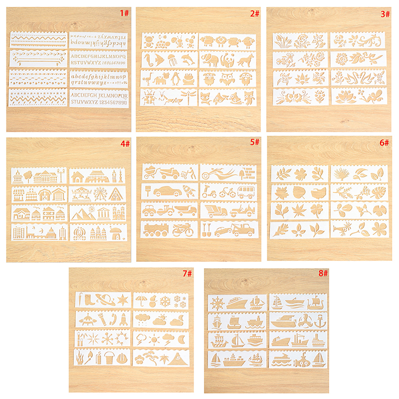 8Pcs//set Bullet Journal Stencil Set plastic planner DIY drawing template diary