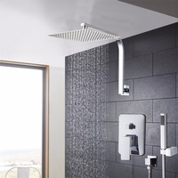 Solid Brass Chrome Finish 8 Inch Ceiling Mounted Shower Set Bathroom Leading Ultra Thin Panel Shower