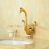Newly Duck Style Basin Faucet Sink Mixer Faucet Gold Polished Bathroom Vessel Tap Dual Handles One Hole