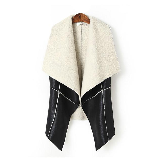 Новая мода в Европе и Америке зимой заклинание тонкий тонкий кашемир пальто ягненка кожаный жилет