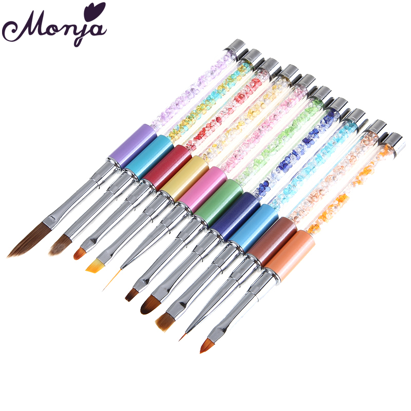 10 Way Nail Stripes lines liner Painting liquid Powder Acrylic UV GEL Extension Builder French Nail Art Drawing Brush цена