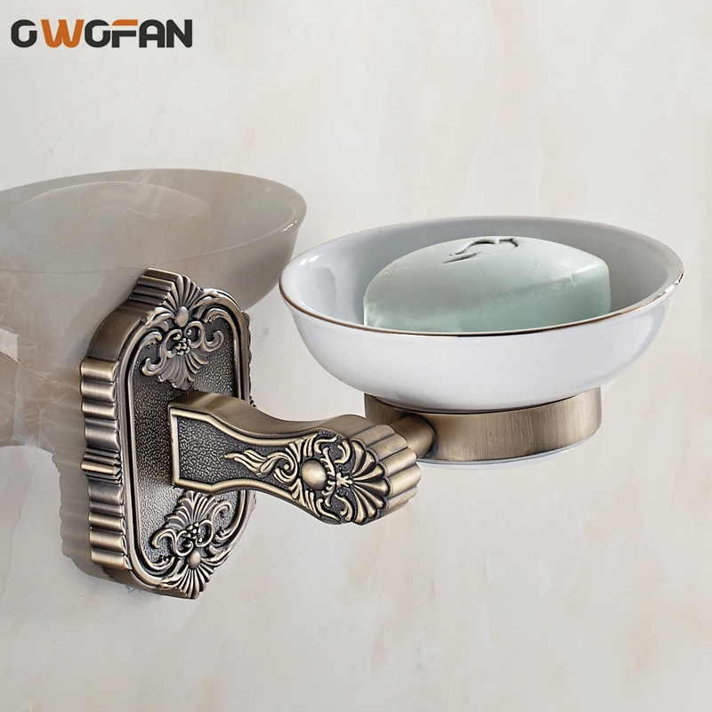 Ceramic soap dishs classic wall mounted carved white brass - Wall mounted ceramic bathroom accessories ...