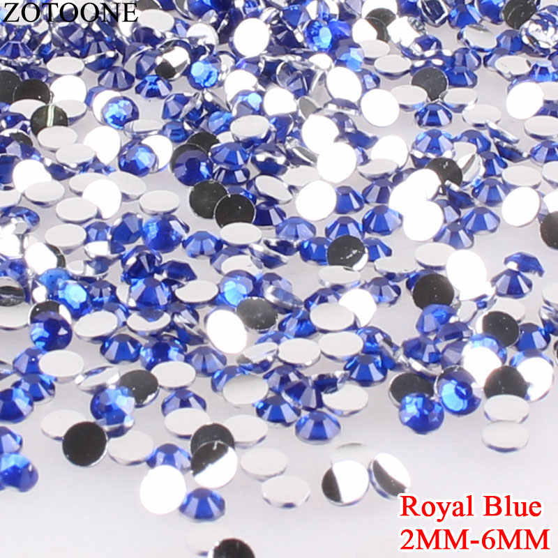 ZOTOONE, diamantes de imitación de cristal de resina azul real con parte posterior plana para ropa, pegamento de apliques, decoración de diamantes de imitación sin fijación en caliente, Strass