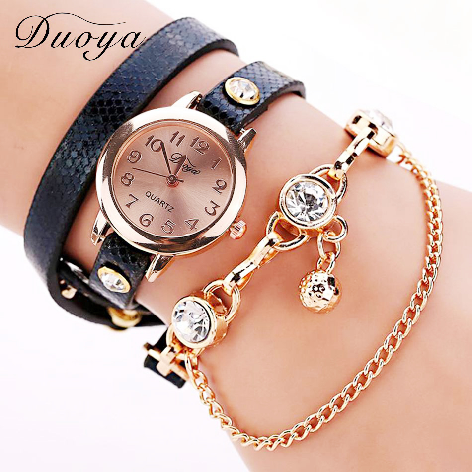 Duoya Brand Watch Women New Dress Gold Crystal Quartz Wristwatches Leather Bracelet Watch Women Luxury Gift Electronic XR956 помады kiss new york матовая помада карандаш ulti matte klc09 chelsea 2 8гр