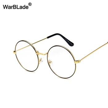 WarBLade Retro Round Clear Lens Glasses Vintage Gold Metal Frame Eyeglasses For Men Women Optical Eyewear Frame Fake Glasses
