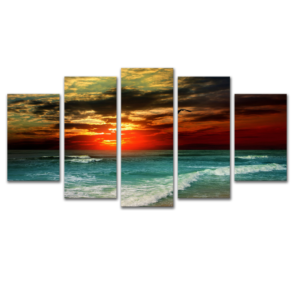 Unframed Canvas Painting Sea Level Spray Sunlight Photo Picture Prints Wall Picture For Living Room Wall Art Decoration