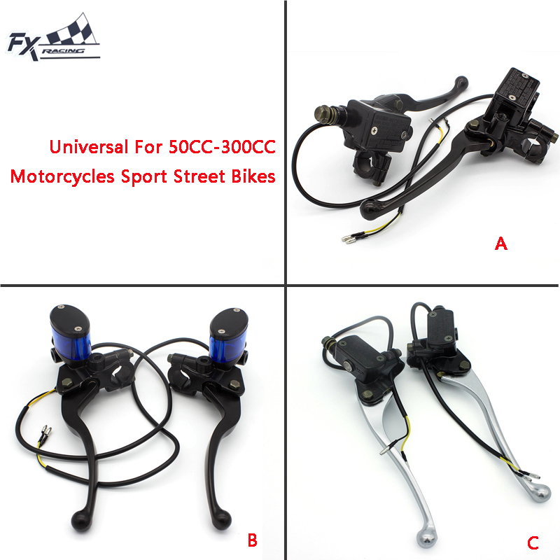50cc - 300cc Universal Motorcycle Brake Clutch Master Cylinder Reservoir Levers Hydraulic Brake Lever 7/8 ATV Sport Street Bike 7 8 22mm universal motorcycles brake clutch levers master cylinder reservoir for suzuki 125 300cc moto hydraulic brake lever