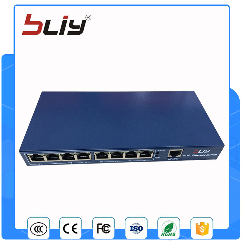 лучшая цена 2017 new arrival 9 port 8 poe port POE Switch/Injector Power over Ethernet Network Switch