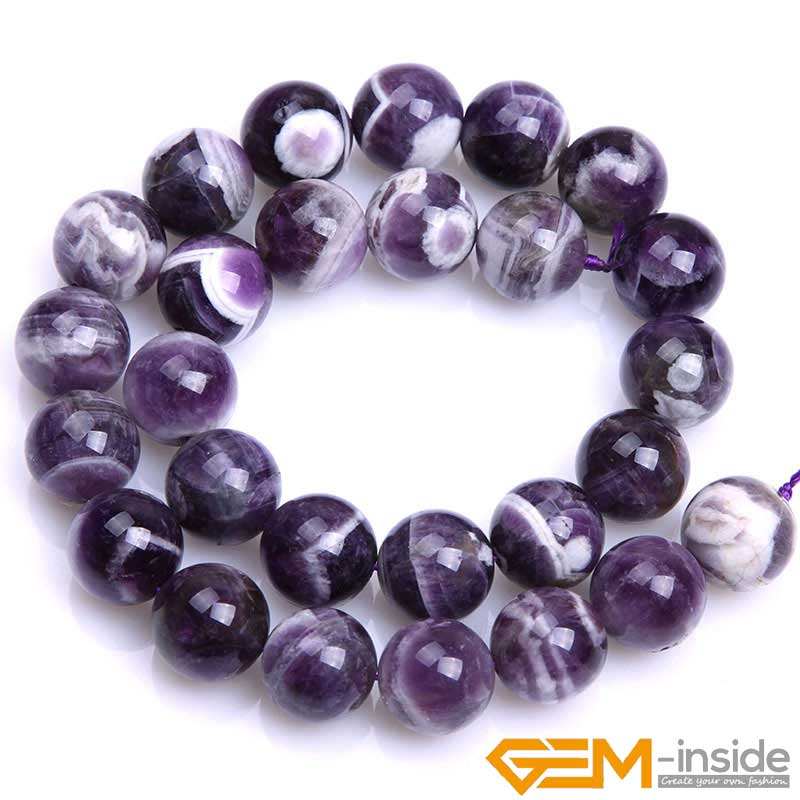 Круглые бусины фиолетового кружевного аметиста, незакрепленные бусины из натурального камня для изготовления ювелирных украшений, нитка 15 дюймов