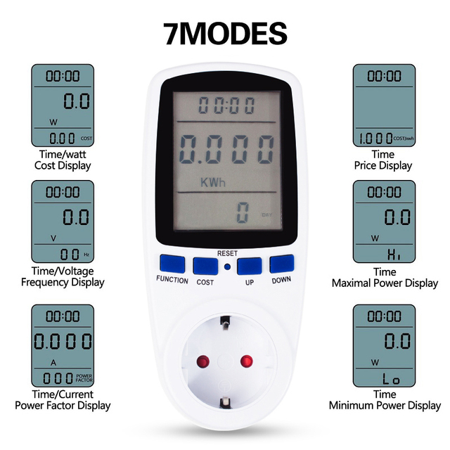 US $9 49 |EU US Power Meter 220V 110V Watt Meter LCD Digital Wattmeter  Voltage Electronic Saving Power Energy Monitor Electric Meter-in Energy  Meters