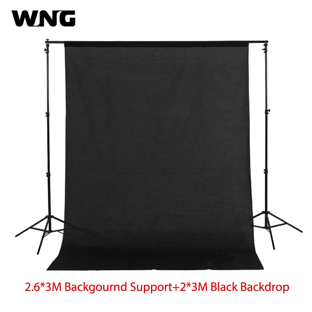 2.6m*3m Photo Background Support Stand Kit with 200*300CM Black Background Muslin cloth 200cm 300cm grey background backdrop cloth with 2 6m 3m 8 5ft 9 8ft photo background backdrop stand support kit