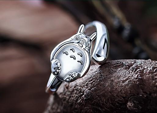 Sidabrinis 925 mano kaimyno Totoro žiedas